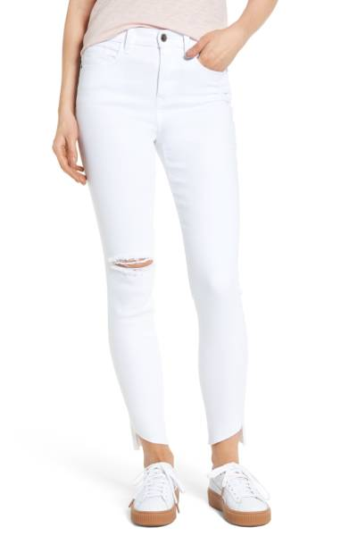 raw hemmed white jeans