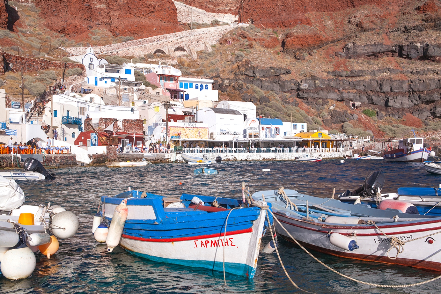 Ammoudi Bay row boats