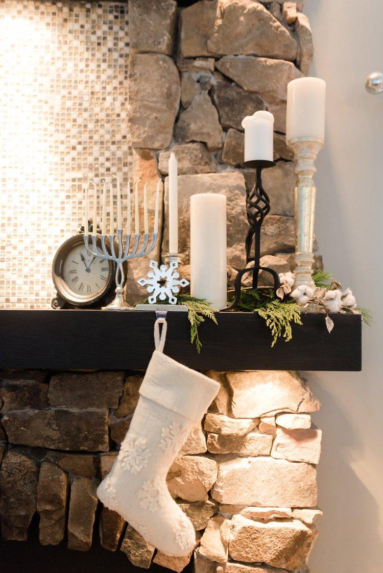 black and white holiday decor, fresh greenery and dried cotton, christmas, hanukkah home decor
