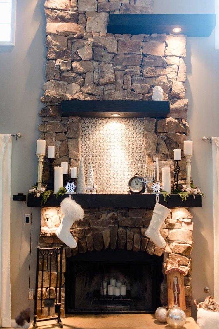 black and white holiday mantle decor, christmas, hanukkah, white stockings