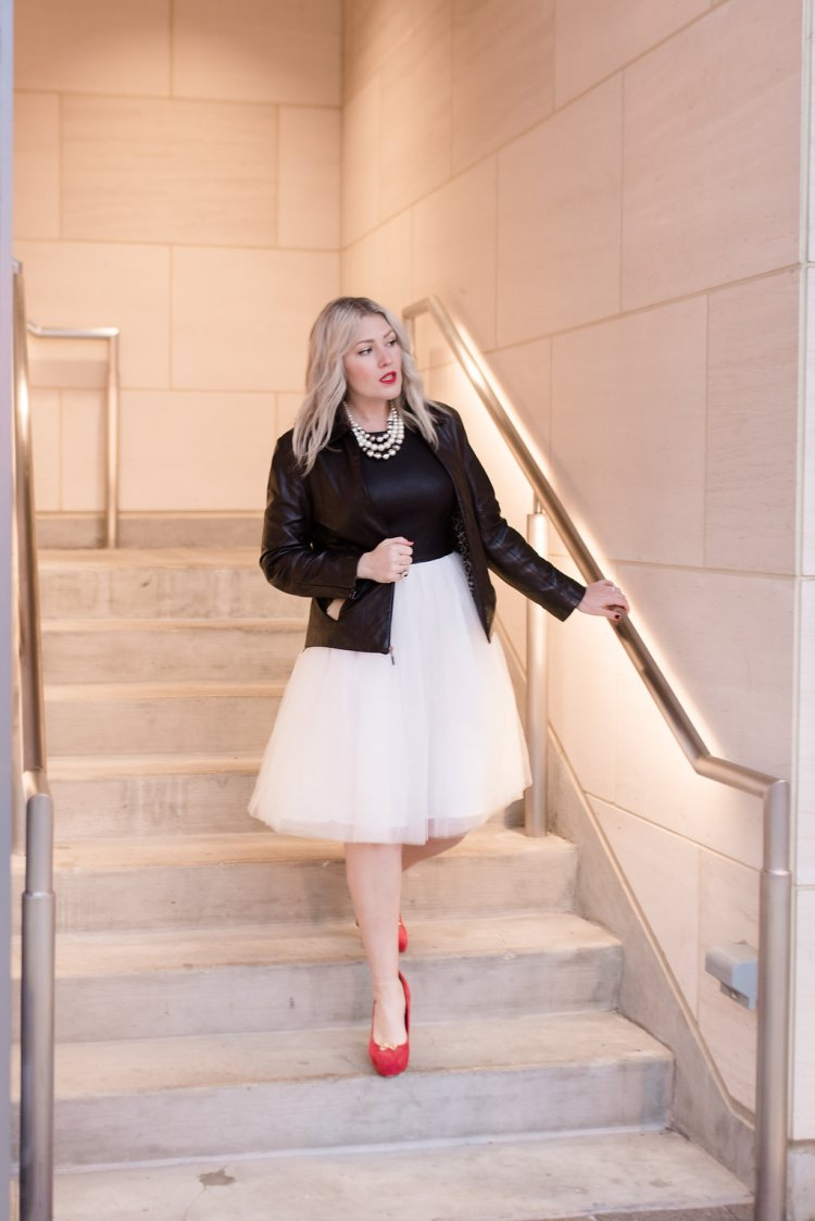 black and white, leather, tulle, party dress