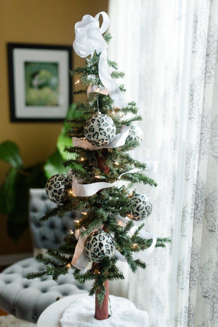 black and white tabletop christmas tree