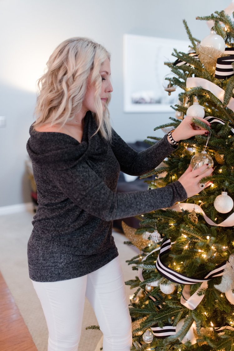 black, white, gold christmas tree, kate spade holidays