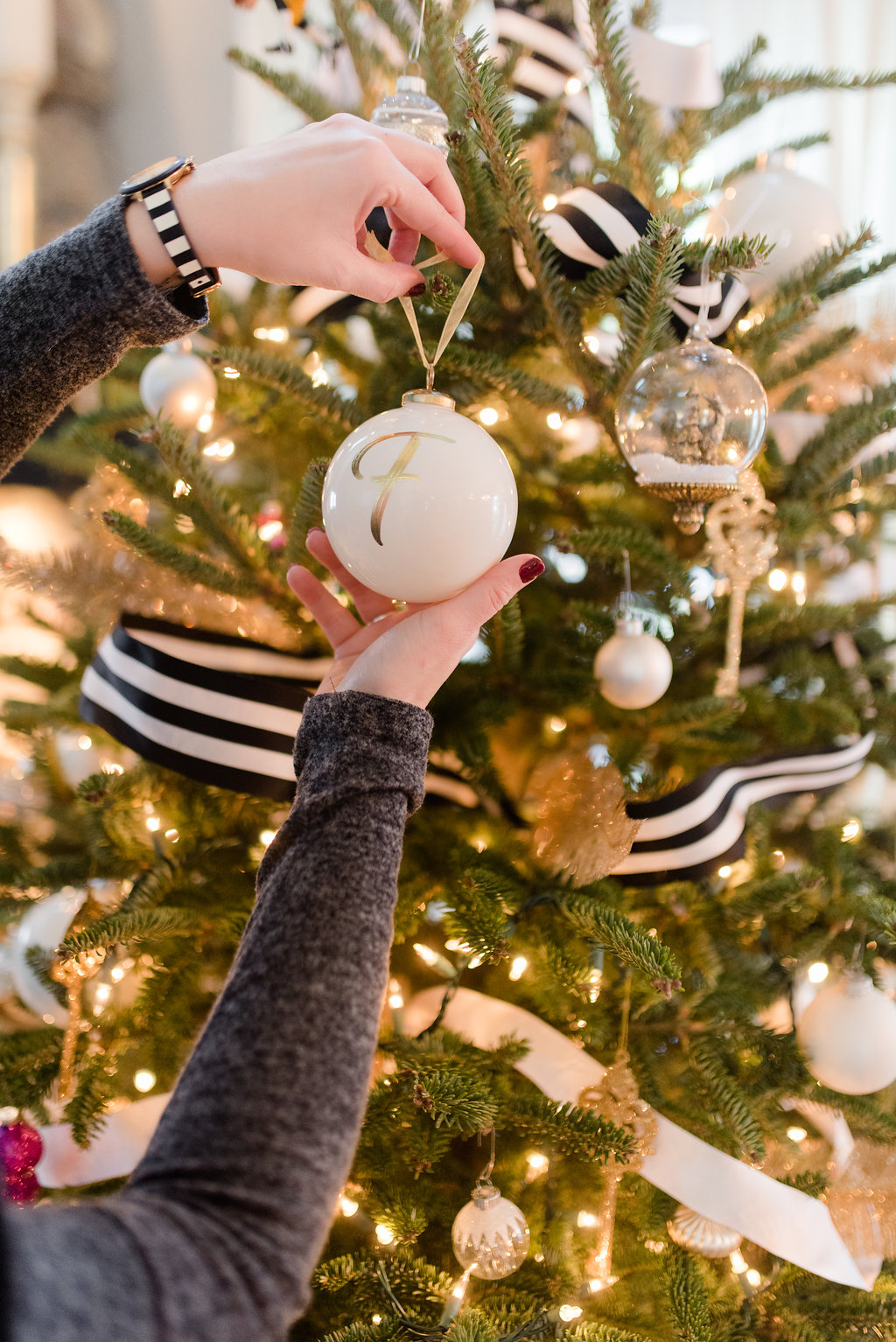 black, white, gold kate spade inspired christmas tree