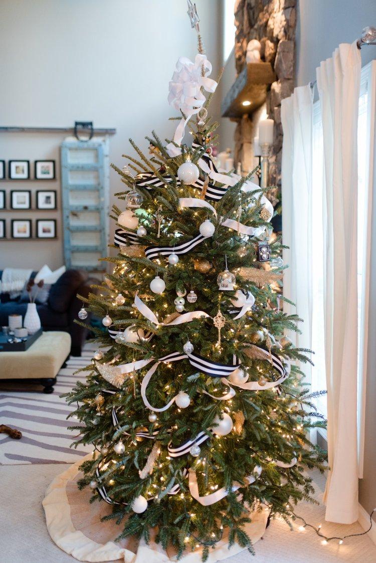 black, white, gold, silver christmas tree