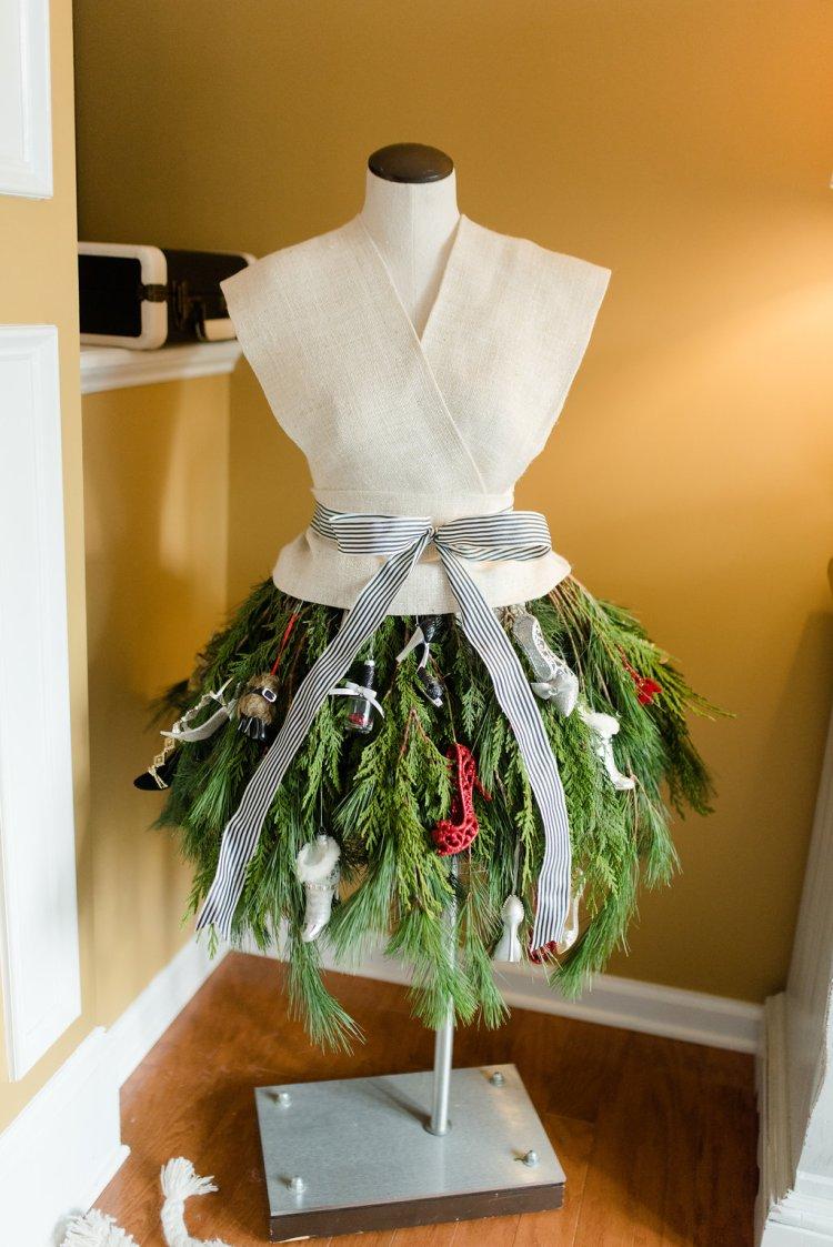 christmas tree dress form, shoe ornaments, black and white kate spade themed christmas