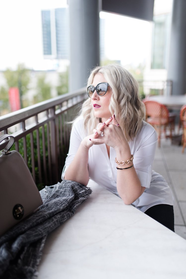 crisp white shirt, career wear, blonde lob, icy blonde, tiffany sunglasses, chic fashion, jackie o, fall fashion, winter fashion,
