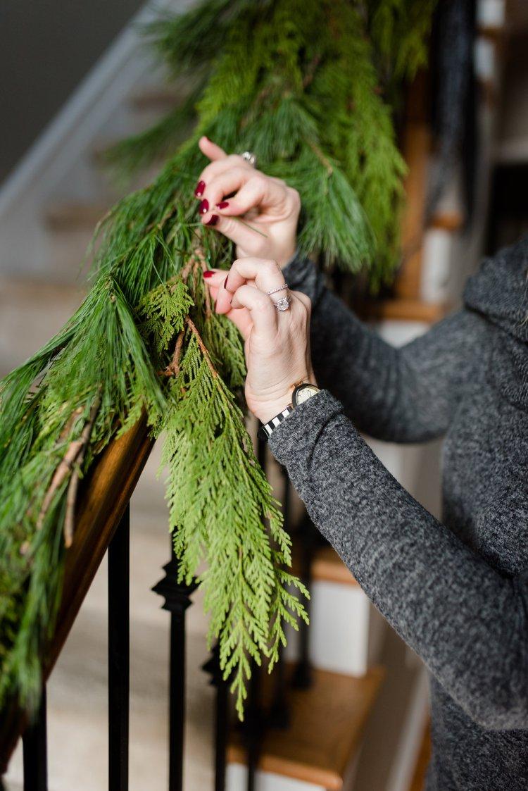 fresh garland, holiday simplicity, christmas